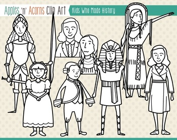 Kids Who Made History Clip Art - color and outlines