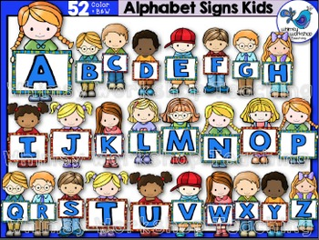 Kids With Alphabet Signs Clip Art - Whimsy Workshop Teaching