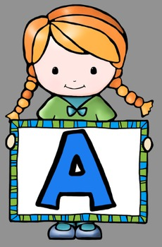 Kids With Alphabet Signs Clip Art - Whimsy Workshop ...