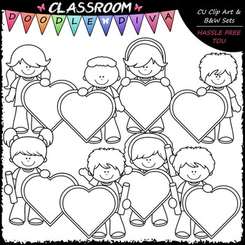 Kids With Blank Heart Boards Clip Art - Valentine's Day Clip Art & B&W Set