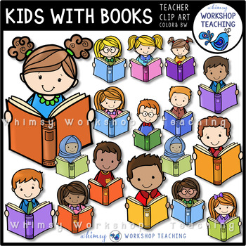 Kids With Books Clip Art - Whimsy Workshop Teaching