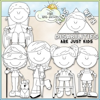 Kids With Disabilities Clip Art - Special Needs Clip Art - CU Clip Art & B&W
