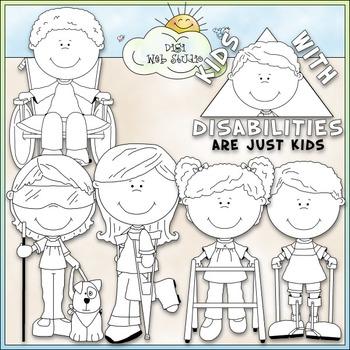 Kids With Disabilities - CU Clip Art & B&W Set