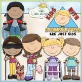 Kids With Disabilities - CU Clip Art & B&W Set