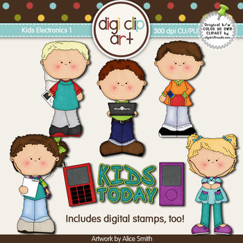Kids With Electronics 1 -  Digi Clip Art/Digital Stamps - CU Clip Art