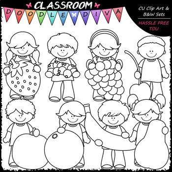Kids With Fruit - Clip Art & B&W Set