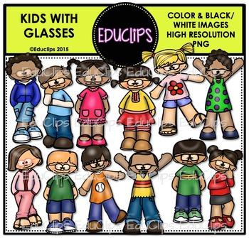 Kids With Glasses Clip Art Bundle {Educlips Clipart}