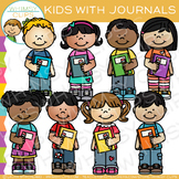 Kids With Journals: Writing Clip Art