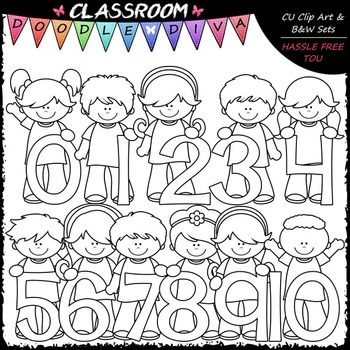 Kids With Math Numbers (0-10) Clip Art - Math Clip Art & B&W Set