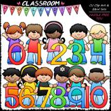 Kids With Math Numbers (0-10) Clip Art - Math Clip Art & B&W Set