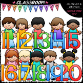 Kids With Math Numbers (11-20) Clip Art - Math Clip Art & B&W Set