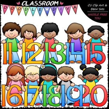 Kids With Math Numbers (11-20) Clip Art - Math Clip Art & B&W Set