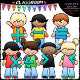 Kids With Math Symbols Clip Art - Math Clip Art & B&W Set
