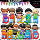 Kids With Math Symbols and Numbers Clip Art & B&W Bundle 1 (3 Sets)