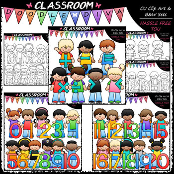 Kids With Math Symbols and Numbers Clip Art & B&W Bundle 1