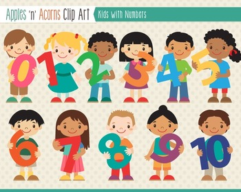 Kids With Numbers Clip Art - color and outlines