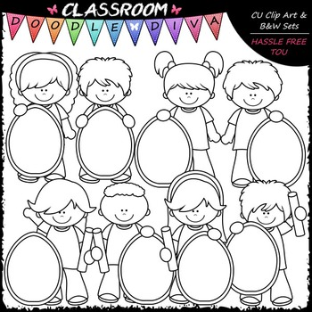 Kids With Pastel Easter Egg Boards Clip Art - Easter Clip Art & B&W Set
