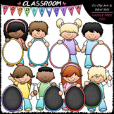Kids With Pastel Easter Egg Boards Clip Art - Easter Clip