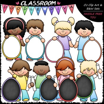 Kids With Pastel Easter Egg Boards Clip Art - Easter Clip