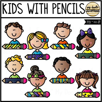 Kids With Pencils (Clip Art for Personal & Commercial Use)