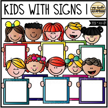Kids With Signs 1 (Clip Art for Personal & Commercial Use)