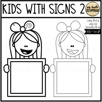 Kids With Signs 2 (Clip Art for Personal & Commercial Use)