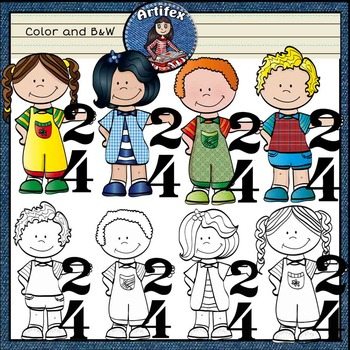 Kids With music notes 3- Color and B&W
