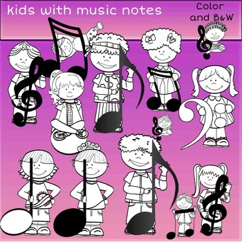 Kids with music notes- Color and B&W