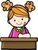 Kids Writing At Desks Clip Art