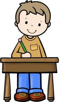 Kids Writing At Desks Clip Art