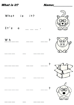 """Kids Writing Practice """"What is it?"""" Q&A 3 Letter Words"""