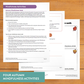 Kids Yoga Autumn Sequence Pose Card Deck and Journal