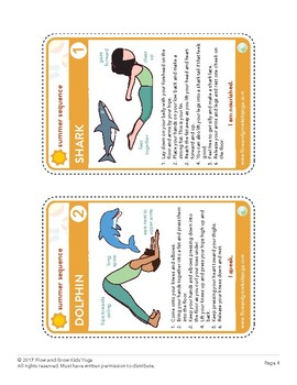 kids yoga summer sequence yoga pose card deck and coloring