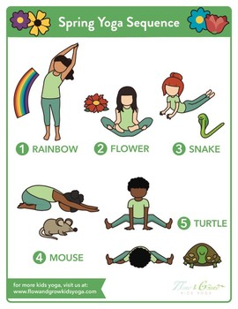 kids yoga spring sequence yoga pose posterflow and