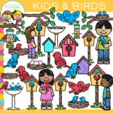 Kids and Birds Clip Art
