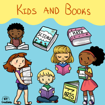 Kids and Books Clip Art