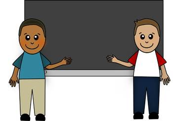 Kids and Chalkboard - Multicultural Students Clip Art