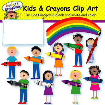 Kids and Crayons Clip Art