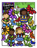 Kids and Flowers {Creative Clips Digital Clipart}