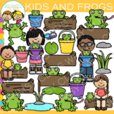 Kids and Frogs Clip Art