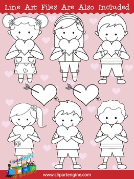 Kids and Hearts Clip Art Collection
