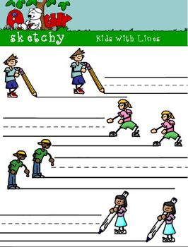 Kids and Lines Clip art - 300dpi - Color, Grayscale, BW