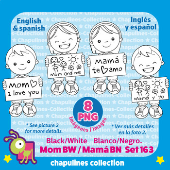 Kids and Mother's day Clipart in black and white, Día de las Madres Set 163