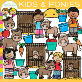 Kids and Ponies Clip Art