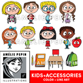 Kids and School Accessories Clip Art