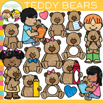 Kids and Teddy Bears Clip Art