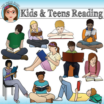 Kids and Teens Reading Clip Art by Ever English Designs | TpT