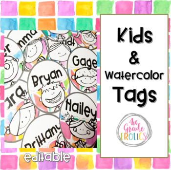 Kids and Watercolor Tags - Editable