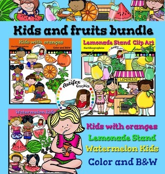 Kids and fruits clip art bundle- color and B&W-89 items!