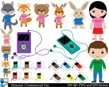 Kids animals and music Digital Clip Art Graphics 34 images cod17